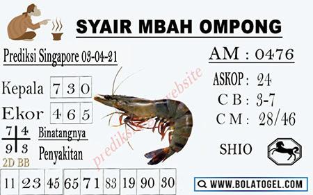 Syair Mbah Ompong SGP Sabtu 03 April 2021