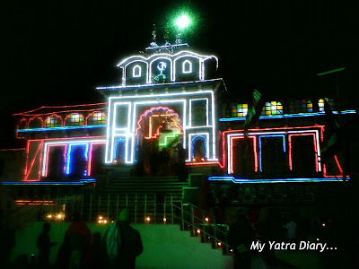 The Badrinath Temple glowing in the colorful Diwali lights in Garhwal Himalayas in Uttarakhand