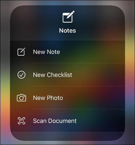 قائمة تطبيق Notes.