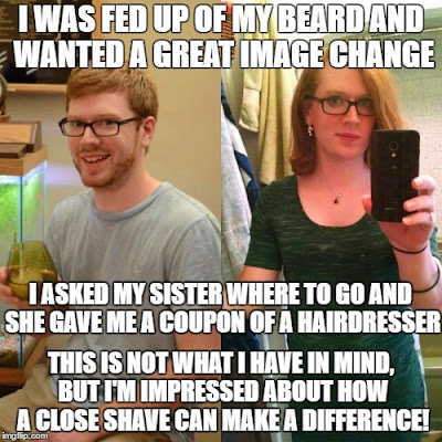 What a difference a close shave can make! - TG Captions and more - Crossdressing and Sissy Tales and Captioned images