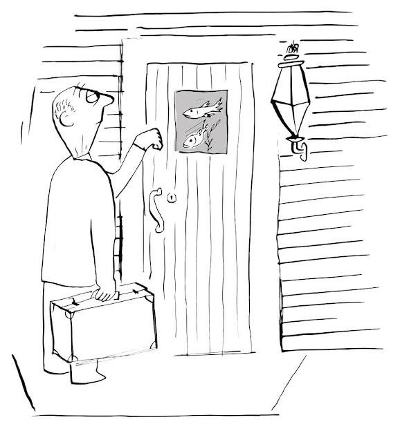cartoon by pa, pa cartoon, donnel, fish, door, salesman