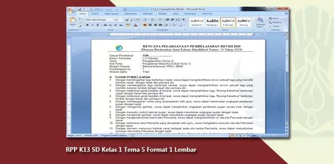 RPP K13 SD Kelas 1 Tema 5 Format 1 Lembar