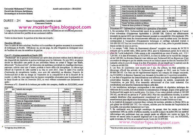 Concours d'accès au Master Comptabilité Contrôle Audit (CCA) 2014-2015