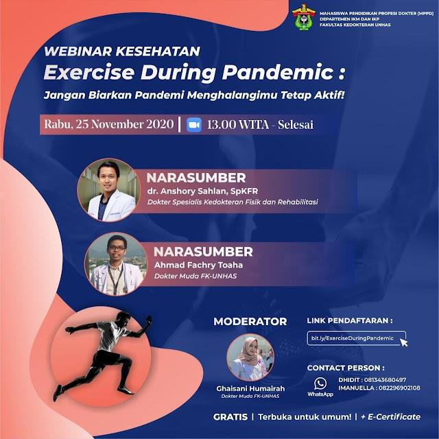 """diskusi online """"Exercise During Pandemic : Jangan Biarkan Pandemi Menghalangimu Tetap Aktif""""🎉🎉"""