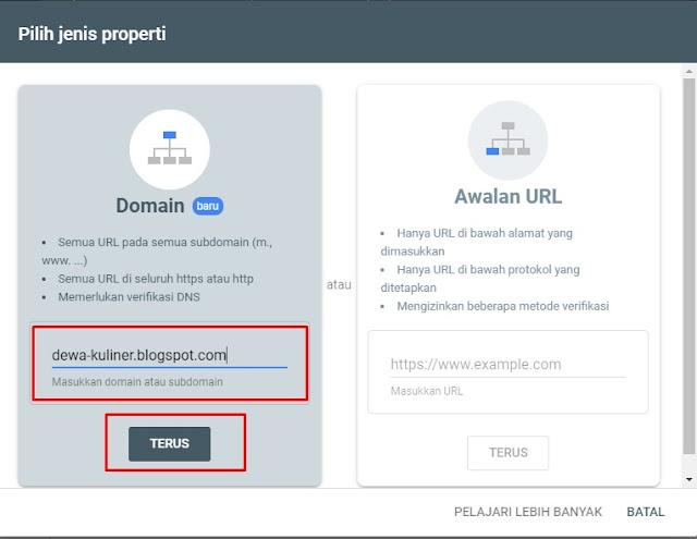 Verifikasi dengan Domain