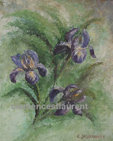 Irises, 12 x 10 oil painting by Clemence St. Laurent