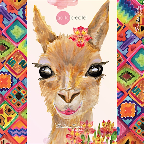 Christina Mann children's book illustration of Vicuna -- Sweet Version. The Saucy one is giving Raspberries!