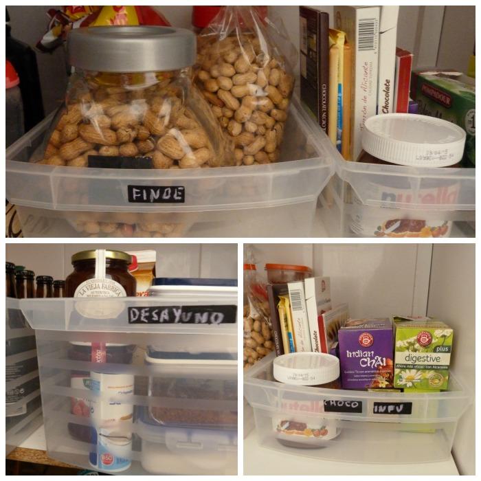 10 Claves para poner orden en la despensa. Cajas de plástico, etiquetas de pintura de  pizarra