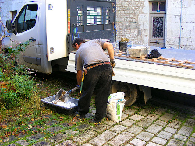 Mixing lime mortar, Indre et Loire, France. Photo by Loire Valley Time Travel.