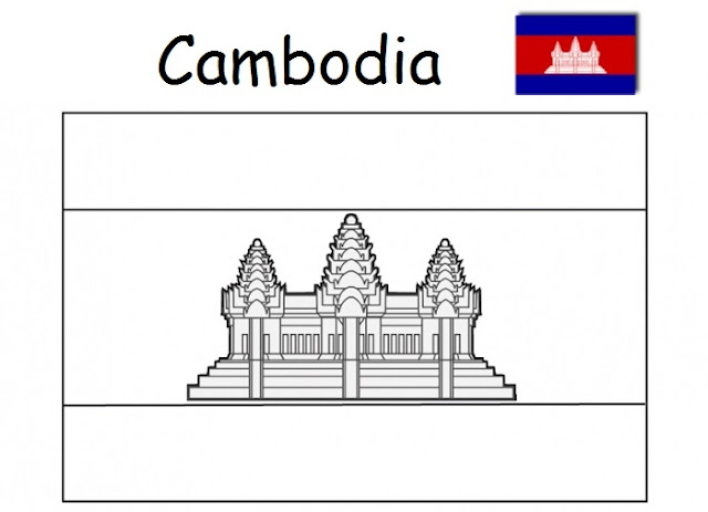 Geography Blog Flag Of Cambodia Coloring Page