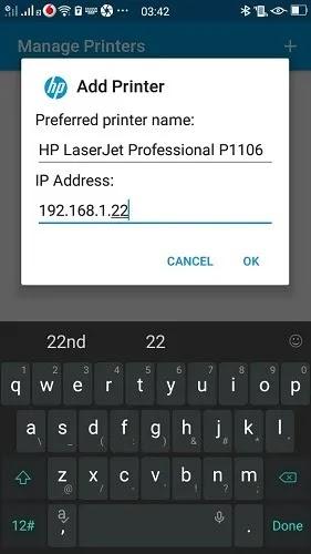 طباعة باستخدام Android Phone Hp Service Plugin إضافة عنوان IP للطابعة