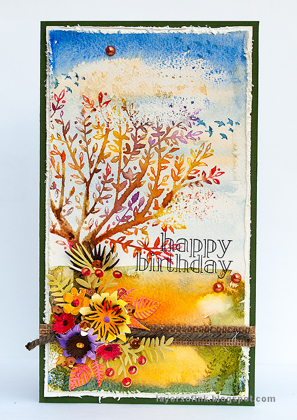 Layers of ink - Autumn Tree with Dimensional Flowers Tutorial by Anna-Karin Evaldsson