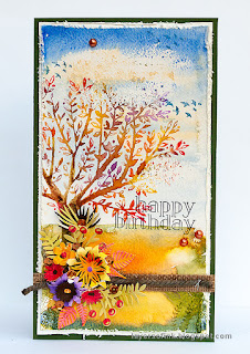 Layers of ink - Watercolor tree with dimensional flowers by Anna-Karin Evaldsson