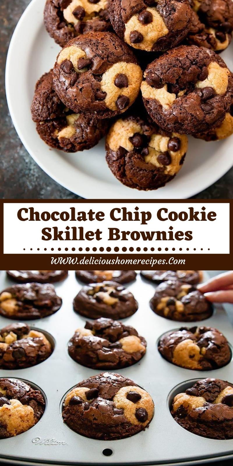 Chocolate Chip Cookie Skillet Brownies