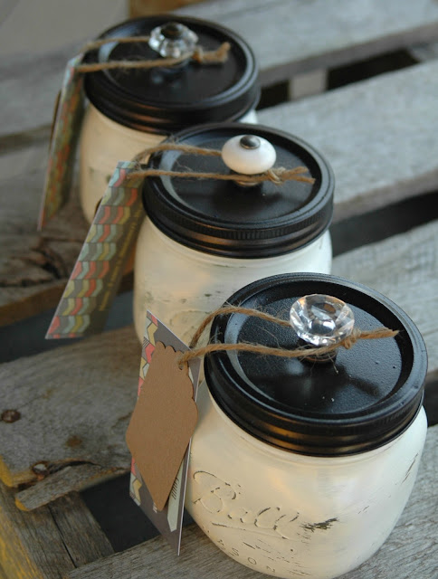 DIY chalk painted mason jars
