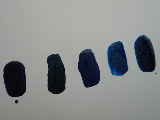 Left-to-right: Essence #22 i love my blue jeans, Essie #936 Bell-Bottom Blues, Panthenols Chroma #630, L'oreal #811 Magic Croisette, Essence #17 Indigo to Go