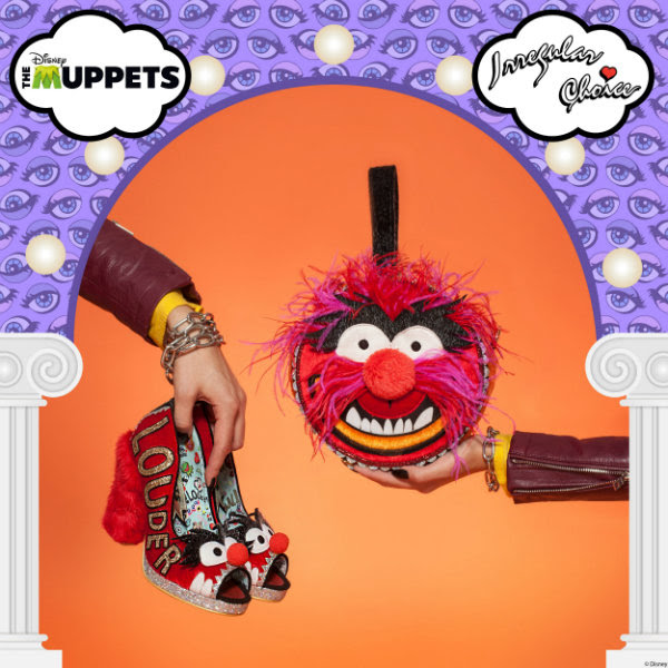 Irregular Choice Muppets Animal heels and handbag being held with branded frame