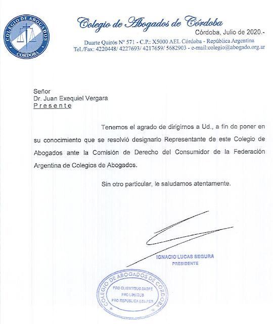 Designación ante la Comisión de Derecho del Consumidor de la Federación Argentina de Colegios de Abogados