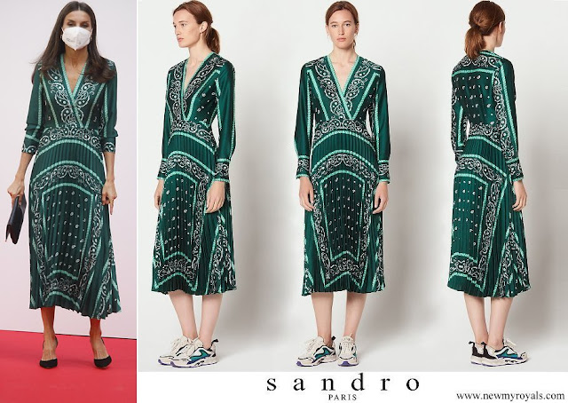 Queen Letizia wore a scarf print wrap long sleeve midi dress from Sandro
