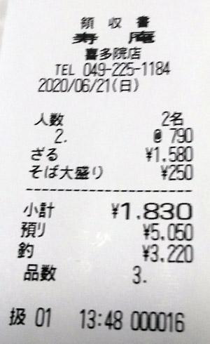 茶そば寿庵 喜多院店 2020/6/21 飲食のレシート