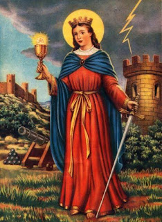 Prayer to Saint Barbara for protection and blessings.  Saint Barbara is often portrayed holding a chalice and sword and a tower behind, sometimes with cannons depicted by her side.