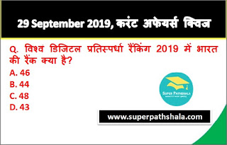 Daily Current Affairs Quiz 29 September 2019 in Hindi