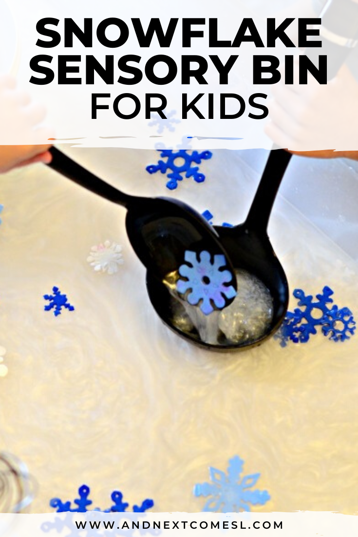 Looking for winter sensory activities? You'll love this snowflake sensory bin. It's a perfect winter sensory bin for toddlers, preschool, and kindergarten!