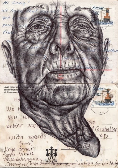 09-Portraits-on-Envelopes-Documents-or-Sheets-of-Music-British-Artist-Mark-Powel-www-designstack-co