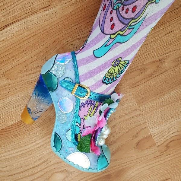 mermaid inspired shoe on foot