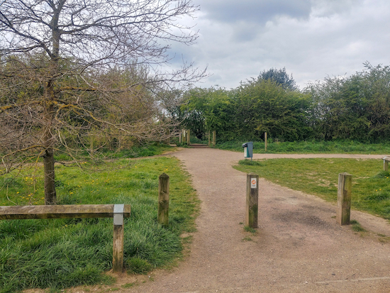 The exit from the car park to Sandridge bridleway 8