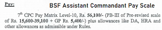 BSF Asst Commandant Basic Pay