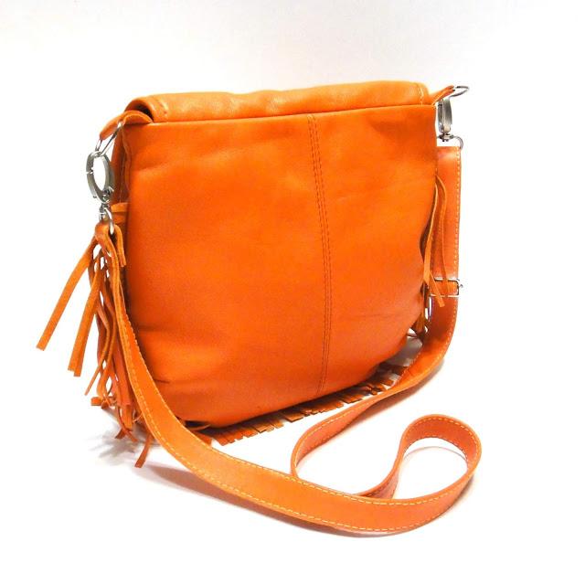 Оранжевая сумка с бахромой из натуральной кожи: ручная работа, доставка почтой или курьером