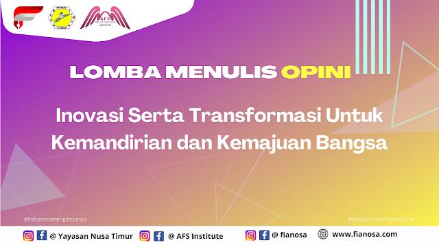 Lomba Menulis Opini Oleh Yayasan Nusa Timur, AFS Institute dan Fianosa.com