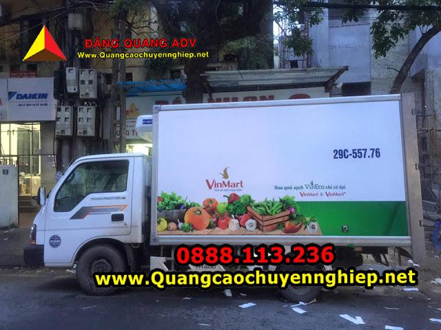 Thi công dán decal quảng cáo trên thùng xe tải