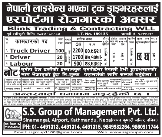 Jobs in Qatar for Nepali in Airport, Salary Rs 60,962