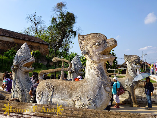 Statues of animals in the temple of Lampang, Thailand