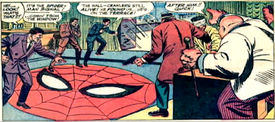 Amazing Spider-Man #51, john romita, the kingpin and his men react dramatically as spider-man shines his spider-signal into their office to herald his arrival