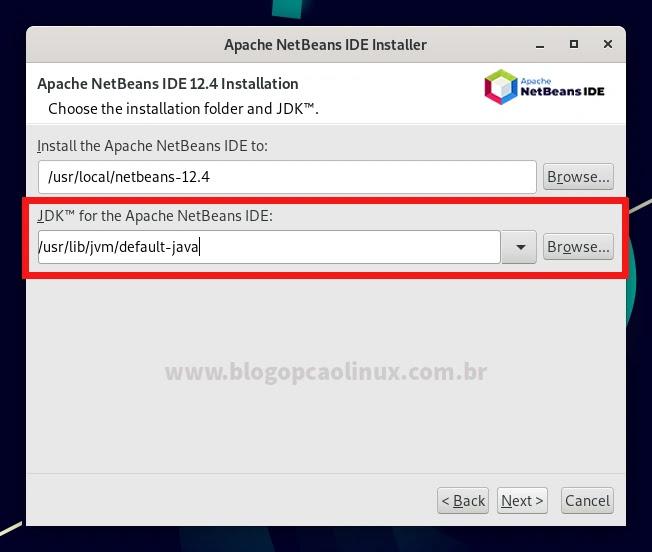 Escolha a pasta de instalação do NetBeans e a versão do JDK