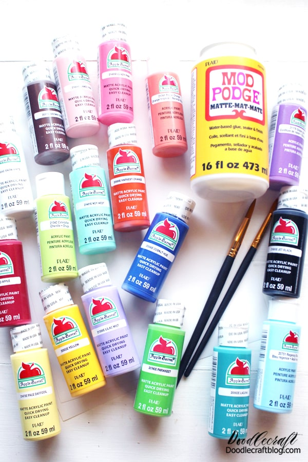 I love this arrangement of colors because it has all the primary colors, plus, it has a light tone and a darker tone of each shade. This makes painting and blending a snap using this pack of 18 fabulous 2 oz. Apple Barrel paints.