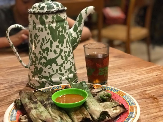 the vintage tea jug and otak - otak at Sambel Hejo Sambel Dadak Restaurant