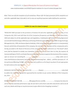 draft shareholders resolution for issue of commercial paper
