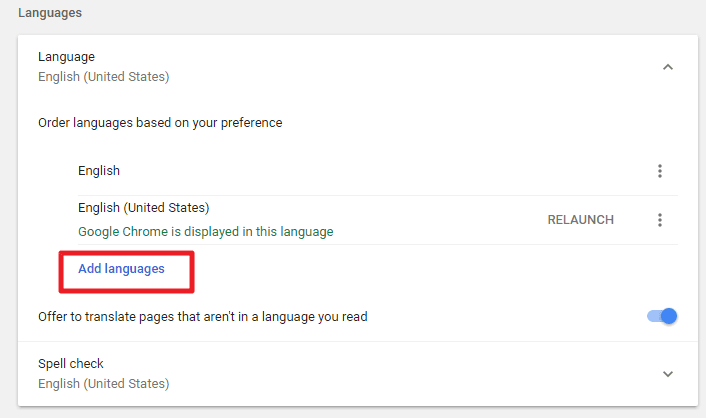add language in google chrome