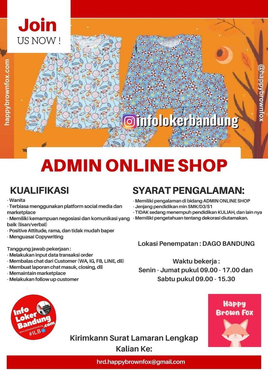 Lowongan Kerja Happy Brown Fox Bandung November 2020