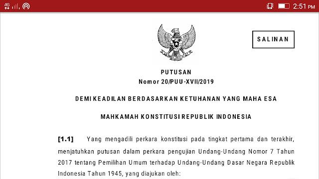 PUTUSAN MK RI Nomor 20/PUU-XVII/2019
