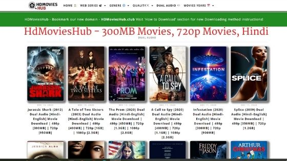 HdMoviesHub - 300MB Movies, 720p Movies, Hindi Dubbed Series