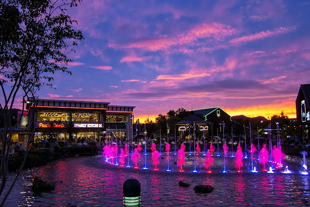 Sunset on The Island Fountain at Pigeon Forge