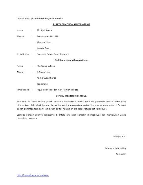 Contoh Surat Permohonan Kerjasama (via: slideshare.net)