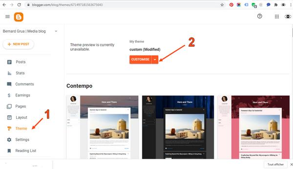 """Insérez la clef que vous a donnée Facebook dans votre site blogspot.  Vous allez coller le """"Meta-Tag"""" de Facebook dans le code votre site blogspot. Puis vous allez confirmer  Accédez au code HTML de votre site blogspot 1. Cliquez sur """"Thème"""" 2. Cliquez sur le menu déroulant (flêche vers le bas), pas sur """"CUSTOMIZE""""."""