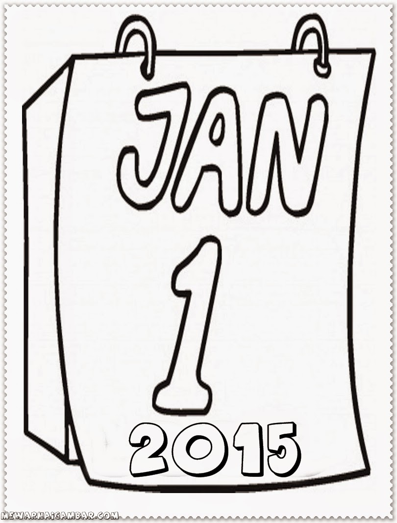 happy new year coloring pages 2015