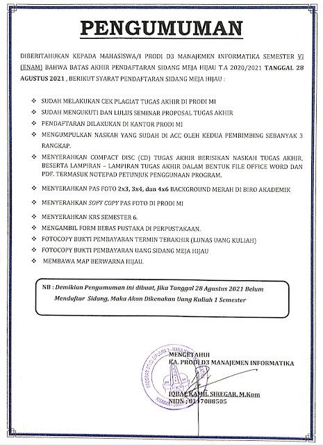PENGUMUMAN BATAS AKHIR PENDAFTARAN SIDANG TA 2020-2021